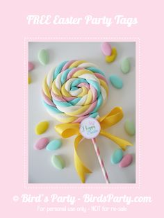 DIY Marshmallow Lollipops & Free Easter Tags 30 Days of FREE Party Printables: Day 21 - Happy Easter Tags Quick and Simple Easter Marshmallow Lollipops by Birds Party Candy Party, Party Favors, Party Games, Lollipop Party, Party Sweets, Marshmallow Pops, Marshmallow Skewers, Easter Party, Unicorn Birthday Parties