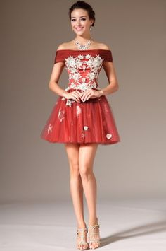 Off-Shoulder Mini-Skirt Cocktail Party Dress (04140410) da1bc200bc65