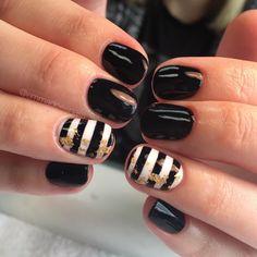 Nails gel nails mani manicure short nails cute nails pretty nails nail design nail art gel polish EmmaDoesNails black nails Kate spade nails foil nails stripe nails summer nails