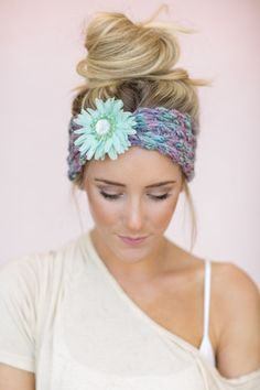 boho flower embellished ear warmer via the birds nest