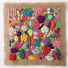 "fibrearts: ""Elizabeth Pawle's scattering embroideries remind me of doodles made with thread. Embroidery Thread, Beaded Embroidery, Cross Stitch Embroidery, Embroidery Patterns, Diy Broderie, Textiles Techniques, Contemporary Embroidery, Adult Crafts, Fabric Art"