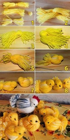 Diy Chicken of woolen yarn (same birds-add rooster crown-R) - Marta Abraham - Ic. Diy Chicken of woolen yarn (same birds-add rooster crown-R) - Marta Abraham - Ich Folge - - Crafts To Make, Crafts For Kids, Diy Crafts, Easy Yarn Crafts, Spring Crafts, Holiday Crafts, Chicken Crafts, Yarn Dolls, Easter Crochet