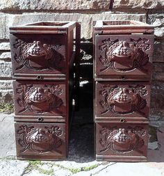 Antique Sewing Machine Triple Drawers with by FingerLakesFinds