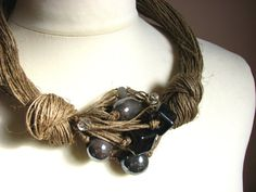 Ceramic Grey linen necklace by GreyHeartOfStone on Etsy
