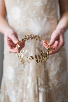 Alena Wrap Headpiece Gold leaf circlet crown by AnnaMarguerite