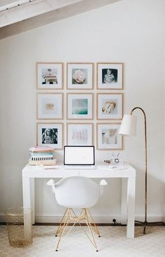 Adorable office space in a small house! Love the Eames style chair.  #ShopStyle #shopthelook #office #workspace #smallspaces #affiliate