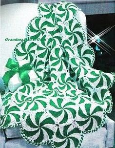 Crochet Peppermint Swirl Afghan Pattern | The WHOot