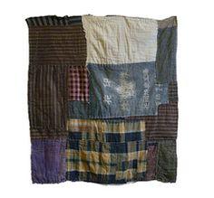"A Very Thick and Heavy Boro Textile: Maekake or Apron Patch $395.00 USD mid twentieth century 52"" x 47"", 132 cm x 119.5 cm"
