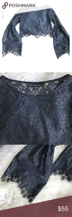 For Love and Lemons bell sleeve crop top Gorgeous lace detail on this classic For Love and Lemons piece. Worn once, perfect condition. Size small would work on sizes 0-4...comfortable not too tight fit For Love And Lemons Tops Crop Tops