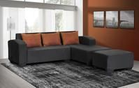 An affordable and convenient modern corner couch with a free matching ottoman and scatter cushions. Corner Couch, Lounge Suites, First Apartment, Scatter Cushions, Colour Black, Family Room, Ottoman, Modern, Fabric