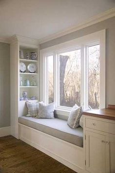 window seat with shelves - need spaces for plants as well. Like these shelves. window seat with shelves – need spaces for plants as well. Like these shelves. window seat with shelves – need spaces for plants as well. Like these shelves. Kitchen Butlers Pantry, Kitchen Shelves, Kitchen Storage, Pantry Room, Kitchen Cabinets At Lowes, Butler Pantry, Cookbook Storage, Window Benches, Window Shelves