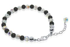 """Sterling Silver Black Onyx & Clear Crystal 7 to 9 inch Adjustable Bracelet Made with Swarovski Elements Gem Avenue. $22.99. Sterling Silver 7"""" to 9"""" Length Adjustable Bracelet. Bracelet Comes with Secure Lobster claw Clasps. Made with Swarovski Elements Black Onyx Gemstone & Clear AB Crystal Bracelet. Gem Avenue sku # GABS012. Made in USA. Save 57%!"""