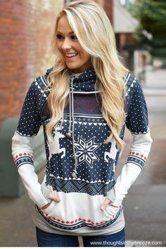 21.48 Women s Christmas Deer Print Long Sleeve Pullover Hooded Sweatshirt   21.48 b780a7622