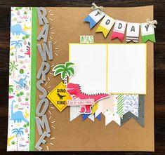 Something Fierce paper collection. Scrapbook Templates, Scrapbook Sketches, Scrapbook Page Layouts, Scrapbook Paper Crafts, Scrapbook Pages, Paper Crafting, Fierce, Baby Boy Scrapbook, Idee Diy