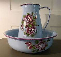 Enamel Water Pitcher and Basin.