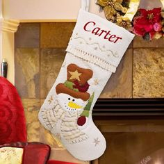 Personalized Cream Snowman Stocking