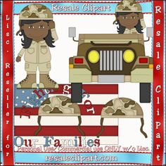 Dessert African American Army Girl in Brown Uniform #Clipart