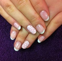 Gel French Manicure with Polka Dots