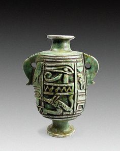 Ancient Egyptian Cosmetic Jar   Carved from a single piece of limestone, this jar was used to store kohl, an ancient form of eye cosmetic. Late Kingdom, 18th Dynasty