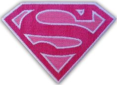 """[Single Count] Custom and Unique (3.25 x 2.5 Inches) """"Comics"""" Super Hero Superman Girly Diamond S Iron On Embroidered Applique Patch {Pink and White Colors}"""