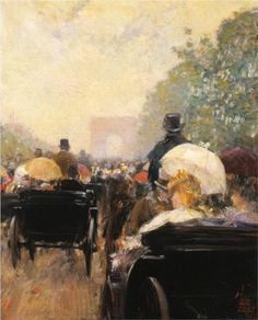 Carriage Parade on Champs Elysees, 1888 by Childe Hassam - oil on canvas. The painting is at the Haggin Museum in Stockton, California.