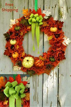 22 inch ruffled orange burlap wreath with pumpkins and fall foliage. Orange Burlap Wreath, Green Wreath, Thanksgiving Wreaths, Fall Wreaths, Thanksgiving Decorations, Seasonal Decor, Wreaths For Sale, Wreaths For Front Door, Door Wreaths