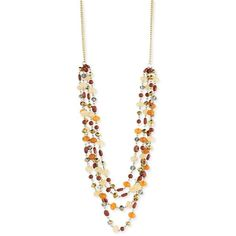 Amazon.com: Long Multi-Strand Amber-colored Beaded Layered Necklace,... ($20) ❤ liked on Polyvore featuring jewelry, necklaces, long multi strand necklace, amber jewelry, long layered necklace, bead necklace and multi strand necklace