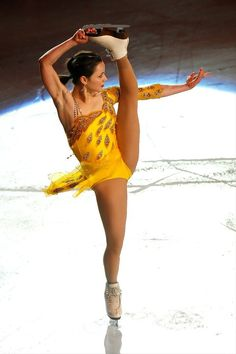 Sasha Cohen at the Golden Celebrities on ice,Yellow Figure Skating / Ice Skating dress inspiration for Sk8 Gr8 Designs.