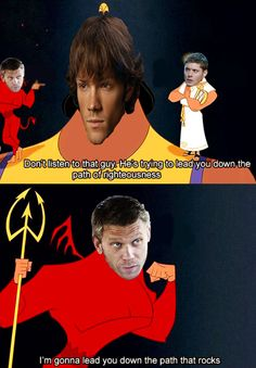 Lucifer is gonna lead Sammy down the path that rocks! Haha! Emperors New Groove Meets Supernatural :)