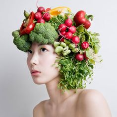 like this idea of using organics for hair. for our story would be less obvious with broccoli and peppers