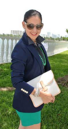 Navy blazer but with a green skirt and nude shirt. So cute!