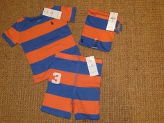 POLO RALPH LAUREN BABY BOY 24 MONTHS  PAJAMAS OUTFIT SHORTS / TOP $35 TAG…