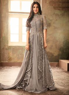 Buy Sonal Chauhan Light Grey Embroidered Anarkali Suit online, SKU Code: This Grey color Party anarkali suit for Women comes with Embroidered Net.Sonal Chauhan Grey Color Net Designer Anarkali Suit Spread the aura of freshness with this grey color ne Eid Dresses, Pakistani Dresses, Bridal Dresses, Evening Dresses, Casual Dresses, Party Dresses, Dress Party, Indian Gowns, Indian Outfits