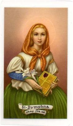 """My grandmother used to pin St. Dymphna's medal to our pajamas - """"St Dymphna is the patron Saint of people with nervous disorders, anxiety, possessed people and mental illness.   Many people experiencing or dealing with evil spirits can have anxiety attacks and depression"""" hmmmmm...."""