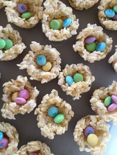 I molded these bird nest rice crispy treats in mini cup cake tins, add M's and complete for Easter !
