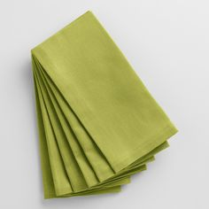 Dress up your table with our fresh green buffet napkins, an easy way to update your place settings for everyday or special occasions. These 100% cotton napkins are machine washable for easy clean up and are also available in a range of other hues.