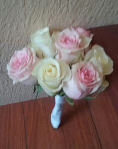 White and light pink roses Flower Girl Bouquet #flowergirlbouquet #pinkwhiteflowergirlbouquet #roseflowergirlbouquet #mybouquetlv