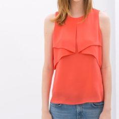 """Zara coral/orange layered blouse Excellent condition. So soft and flowy! Perfect as a work or going out blouse. Lots of movement and classy. Measures about 28"""" in length. Zara Tops Blouses"""