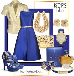 """KORS blue"" by tammielou1958 ❤ liked on Polyvore"