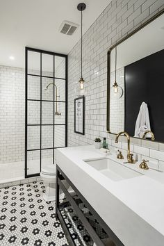 Jorie Martin saved to home Awesome Black And White Subway Tiles Bathroom Design Creative Industrial Bathroom Renovation Ideas To Nail Your Home Bathroom Tile Designs, Bathroom Renos, Bathroom Interior Design, Small Bathroom, Master Bathroom, Basement Bathroom, Tiled Bathrooms, Bathroom Layout, Budget Bathroom