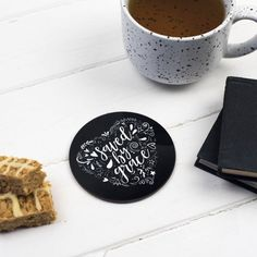 Love & Grace Coasters Set Of 2 Black And White Theme, Hand Drawn Lettering, Love Never Fails, Saved By Grace, Treat Yourself, Coaster Set, Pattern Design, Birthday Gifts, How To Draw Hands