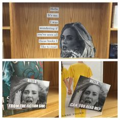 Hello Adele book display in my high school library.