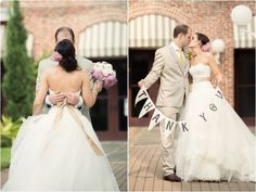 Bride and groom giving thanks to their guest by holding adorable flag garland. Photo by Jonathan Ivy Photography