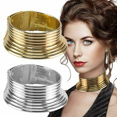 Maxi Collar African Jewelry Vintage Necklace Metallic Coil Adjustable Choker