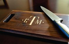 Personalized Cutting Board Inlay Engraved 8x14 Modern Monogram Chopping Block