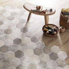 THE design touch of the moment for your interior? A mixture of tiles and parquet to define your spaces. Our FARO tiles go perfectly with wood. # know how to do in France Floor Design, Patio Design, House Design, Parquet Flooring, Kitchen Flooring, Modern Flooring, Home Renovation, Home Remodeling, Hexagon Tiles