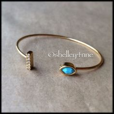 Gold Pavé Bar & Turquoise Stone Cuff NEW | a delicate cuff with a statement featuring  clear crystal pavé & a lovely turquoise stone | 14k gold plated brass | perfect for layering! | 🚫NO...I DO NOT TRADE🚫 Jules Smith Jewelry Bracelets