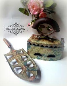 Stary Kredens - Blog - Decoupage: Stare żelazko na węgiel - beże , turkusy i odrobina miedzianego złota - Decoupage.