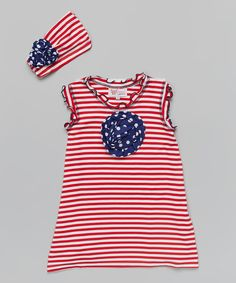 Look what I found on #zulily! Red Stripe Rosette Dress & Headband - Toddler & Girls by Whimsical by Molly Pop Inc. #zulilyfinds