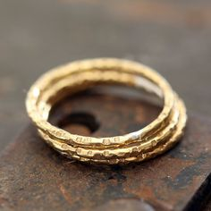 14k Gold Stacking Rings Textured set of 3 from Praxis Jewelry